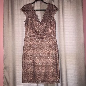 Mauve Lace/Sequin Formal Short Sleeve Dress